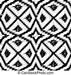 style, zigzag, ethnique, griffonnage, formes, doodles, noir, pattern., vecteur, lignes, résumé, blanc, ornements, seamless, reprise, géométrique, symétrique, toile fond., indigène, géométrique, arrière-plan., tribal