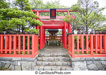 style1, 日本語, 神社, 鳥居, 小さい, 赤