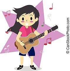 style2, hong, amor, menino, personagem, jovem, ilustração, violão jogo, vetorial, desenho, fundo, acústico, música, cabelo, estrela, caricatura, feliz