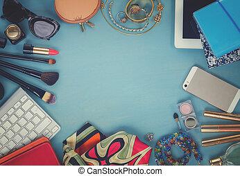 styled feminine desktop - woman fashion flat lay items on ...