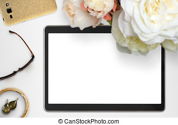 Styled Feminine Tablet Mockup - Top view scene with tablet ...