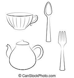 Styled set of kitchen utensils.