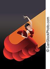 styled Spain Flamenco dancer - Young woman flamenco...
