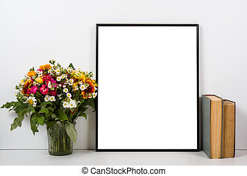 Styled tabletop, empty frame, painting art poster interior...