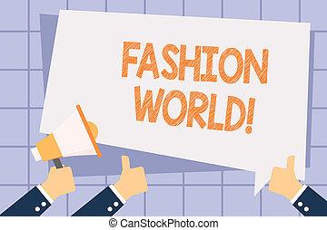 styles, balloon., mode, business, photo, projection, apparence, haut, écriture, note, showcasing, pouces, tenue, texte, main, mondiale, porte voix, habillement, faire gestes, implique, world.