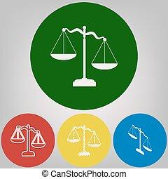 styles, cercles, coloré, balances, justice, lumière, signe., arrière-plan., gris, 4, vector., blanc, icône