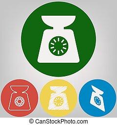 styles, cercles, coloré, balances, lumière, signe., arrière-plan., gris, 4, vector., blanc, cuisine, icône