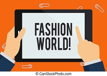 styles, concept, mot, coloré, pointage, texte, tablette, apparence, screen., ecriture homme affaires, business, tenue, toucher, mode, vide, mondiale, main, habillement, implique, world.