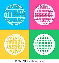 styles, couleur, globe, quatre, squares., la terre, signe., icône