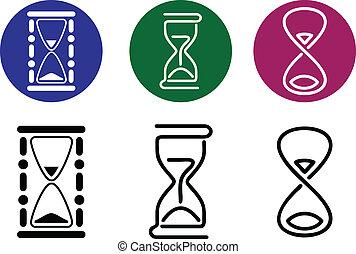 styles., diferente, vector, siluetas, hourglass.