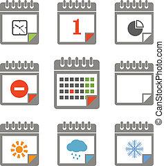 styles, différent, icônes, couleur, collection, calendrier