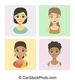 styles, différent, illustration., gens, portraits, peau, avatars, nations, cheveux, affiliation, vecteur, tonalités, ethnique, brochure, ethnicité, frais