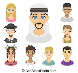 styles, différent, illustration., gens, portraits, peau, avatars, nations, cheveux, affiliation, vecteur, tonalités, ethnique, ethnicité, frais