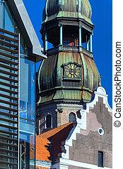 styles, différent, riga, centre, architecture