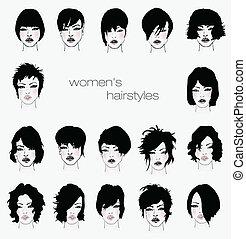 styles, ensemble cheveux, femme, vecteur