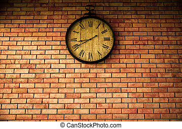 styles, horloge, mur, vendange, wall., retro, pendre, brique