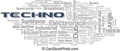 styles, mot, électronique, arbre, vecteur, musique, techno, étiquette, bulle, nuage