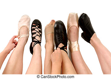 Six Genres of Adult Dance Styles in Shoes with legs and feet Ballet, Irish Ghillies, Lyrical, Clog Hard Shoes, Pointe and Tap