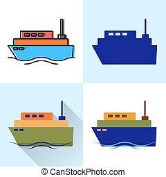 styles, plat, ensemble, bateau, ligne, icône