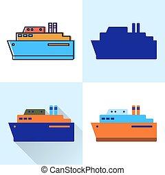 styles, plat, ensemble, grand, bateau, ligne, icône