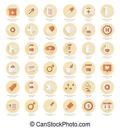 styles, plat, ensemble, icônes, couleur, médical 2