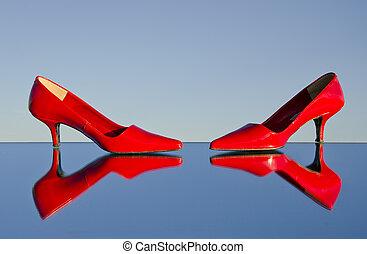 stylet, deux, rouges, miroir