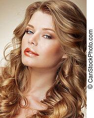 styling., deslumbrante, modelo moda, com, perfeitos, luz, sedoso, cabelo