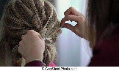 styling, girl., styliste, mariée, coiffure, cheveux, coiffeur, mariage, hair., jeune