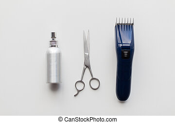 styling hair spray, trimmer and scissors - hair tools, ...