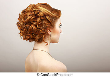 Styling. Rear View of Frizzy Red Hair Woman. Haircare Spa...