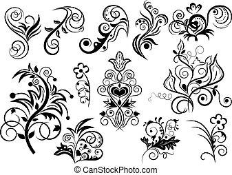 stylique floral, blanc, noir, elements.