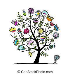 stylique floral, croquis, arbre, ton