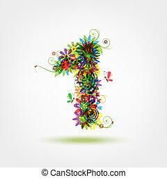 stylique floral, une, nombre, ton
