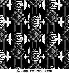 stylique numérique, tribal, décoratif, dots., reprise, ethnique, textured, noir, halftone, surface, seamless, similigravure, vecteur, pattern., ornament., blanc, toile fond., pointillé, vendange, fond, 3d, géométrique