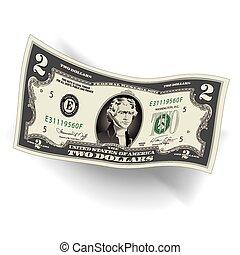 stylisé, 2, note, dollar, dessin
