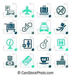 stylisé, aéroport, transport, icônes