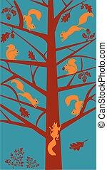stylisé, arbre chêne, écureuils