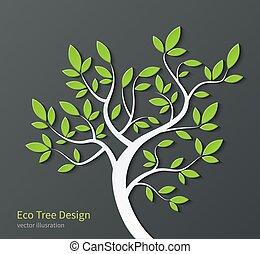stylisé, arbre, feuilles, branches, vert