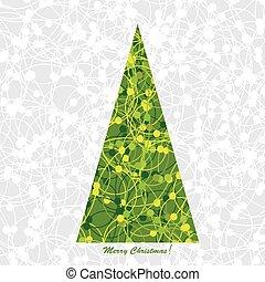stylisé, arbre, noël carte