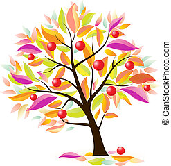 stylisé, arbre, pomme