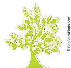 stylisé, arbre vert