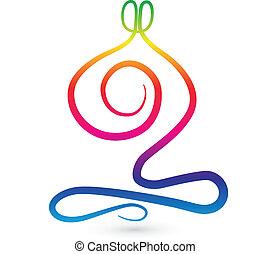 stylisé, arc-en-ciel, hommes, yoga, logo