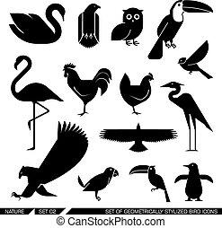 stylisé, bird., ensemble, géométriquement