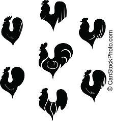 stylisé, blanc, noir, coqs
