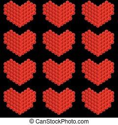stylisé, cœurs, fait, cercles