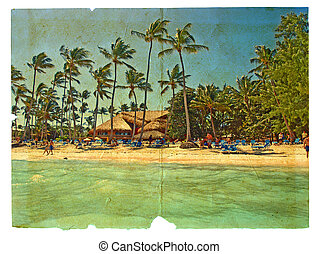 stylisé, chaises, bungalows., grunge, carte postale, plage, ...