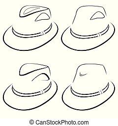 stylisé, chapeaux, hommes, vecteur, collection