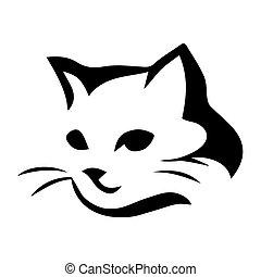 stylisé, chat, icône