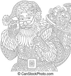 stylisé, claus, santa, zentangle