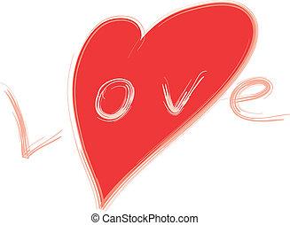 stylisé, coeur, amour, rouges, mot